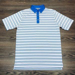 FootJoy White, Grey & Blue Stripe Polo Shirt L